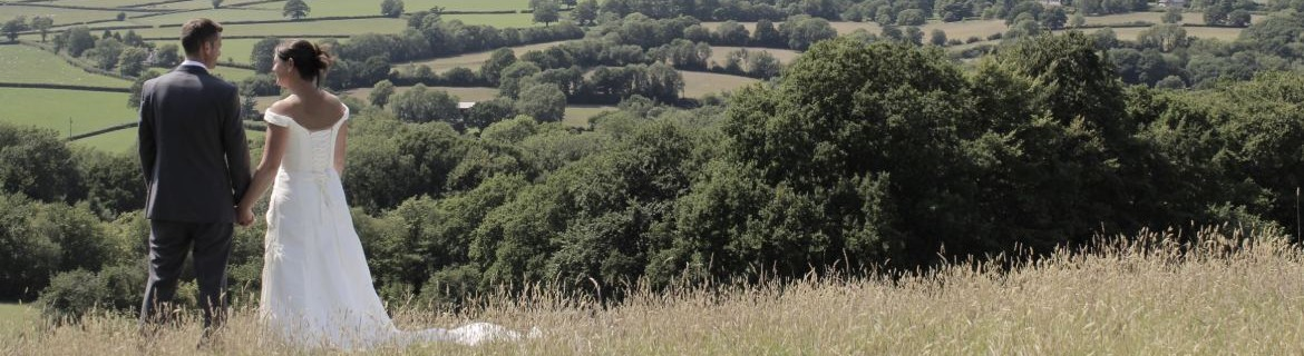 bride and groom looking at the view from royal oak farm in the blackdown hills