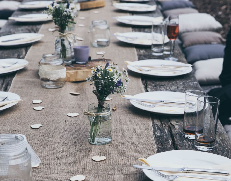 wedding table with wild flowers